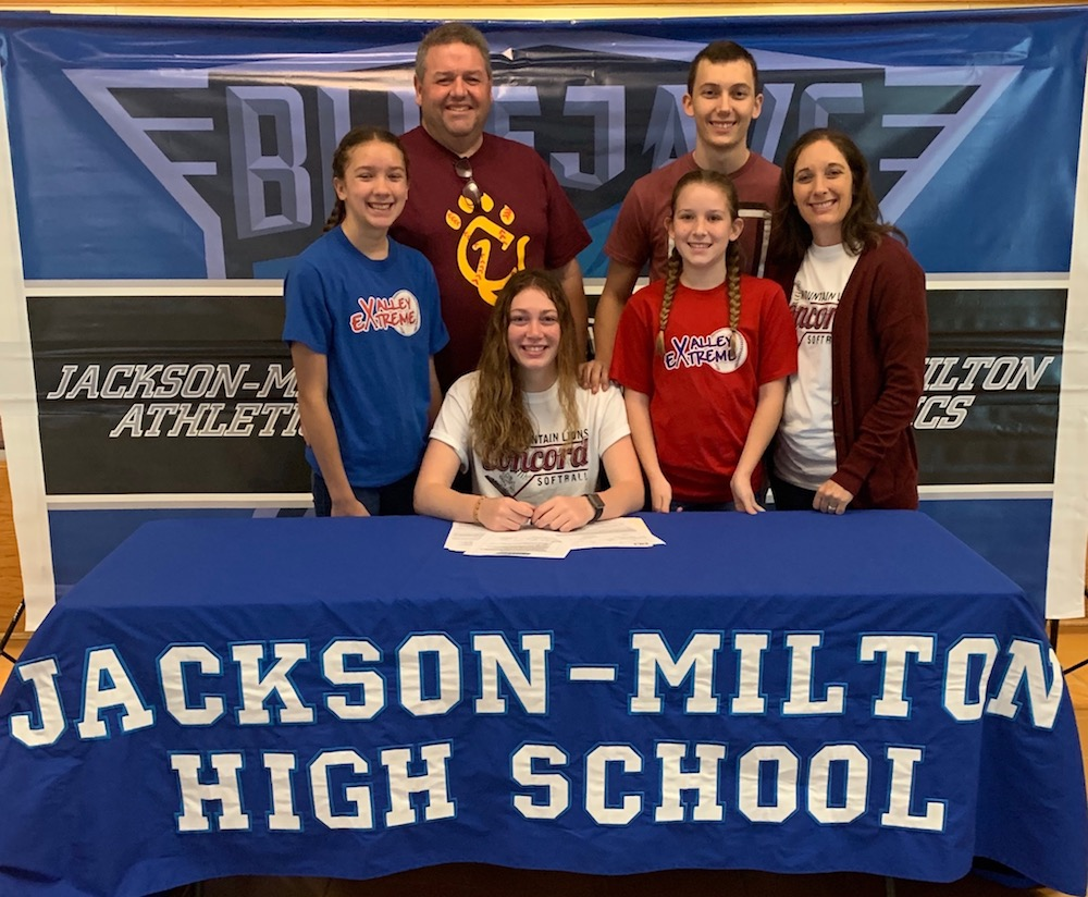 Abby Spalding from Jackson Milton signs to play softball for Concord.