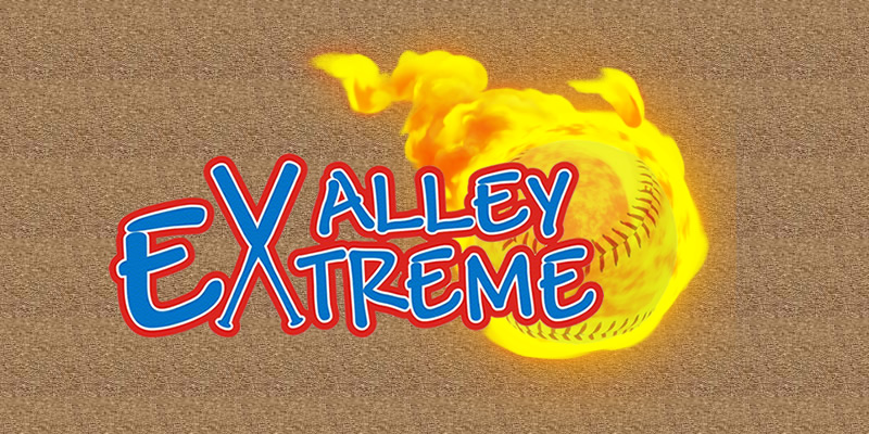 The Valley Extreme Girls Fastpitch Softball Flaming Ball Logo